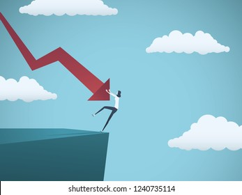 Bankrupt businesswoman falling off a cliff, pushed by downward arrow. Symbol of bankruptcy, failure, recession, crisis and financial losses on stock exchange market. Eps10 vector illustration.