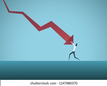 Bankrupt businesswoman pushed by downward arrow vector concept. Symbol of bankruptcy, failure, recession, crisis and financial losses on stock exchange market. Eps10 vector illustration.