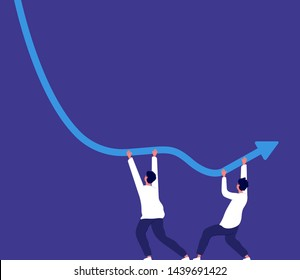 Bankrupt concept. People trying to keep downward financial trend arrow economic risk crisis, money lost business vector. Financial arrow increase, turnover orientation way after downward illustration