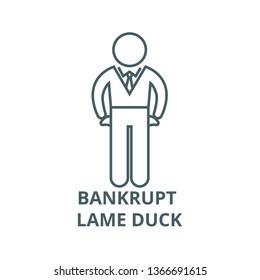 Bankrupt, lame duck line icon, vector. Bankrupt, lame duck outline sign, concept symbol, flat illustration