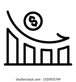Bankrupt money loss icon. Outline bankrupt money loss vector icon for web design isolated on white background