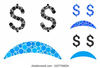Bankrupt sad emotion mosaic of circle elements in various sizes and color tones, based on bankrupt sad emotion icon. Vector circle elements are combined into blue mosaic.
