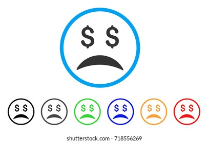 Bankrupt Sad Emotion rounded icon. Style is a flat bankrupt sad emotion gray symbol inside light blue circle with black, gray, green, blue, red, orange variants.