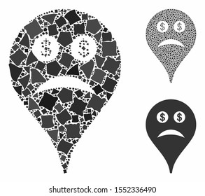 Bankrupt smiley map marker composition of abrupt parts in variable sizes and shades, based on bankrupt smiley map marker icon. Vector abrupt pieces are grouped into illustration.