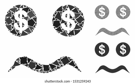 Bankrupt smiley mosaic of tremulant pieces in different sizes and color tints, based on bankrupt smiley icon. Vector irregular parts are composed into mosaic.