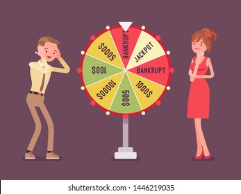 Bankrupt, unhappy man losing in game show. Guy in stress and worry in financial problems, loss of money after business risk, negative gamble rsult. Vector flat style cartoon illustration