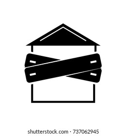 bankruptcy - boarded-up house icon, vector illustration, black sign on isolated background