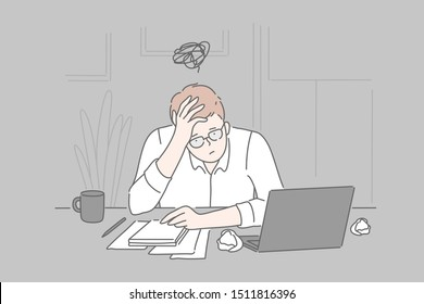 Bankruptcy, burnout, collapse, business concept. Tired frustrated young man businessman in psychological stress at the end of the day in the office. Problems, unsolved cases. Brainstorming. Simple