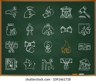 Bankruptcy chalk icons set. Outline web sign kit of business. Crisis linear icon collection includes graph, poor, fail. Simple hand drawn bankrupt symbol on chalkboard vector Illustration