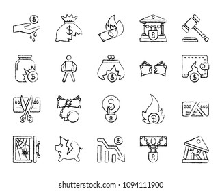 Bankruptcy charcoal icons set. Outline web sign kit of business. Crisis linear icon collection includes recession, poverty, money. Simple hand drawn bankruptcy symbol on white. Vector Illustration