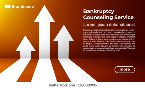BANKRUPTCY COUNSELING SERVICE - Web Template in Trendy Colors. Business Arrow Target Direction to Growth and Success. Modern Vector Illustration or Design Template.