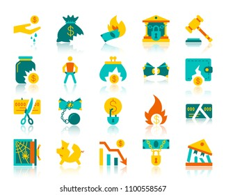 Bankruptcy flat icons set. Web vector sign kit of business. Crisis pictogram collection includes recession, poverty, money. Simple bankruptcy colorful icon symbol with reflection isolated on white