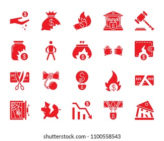 Bankruptcy red silhouette icons set. Isolated web sign kit of business. Crisis monochrome pictogram collection includes debt, court, problem. Simple bankruptcy symbol. Vector Icon shape for stamp