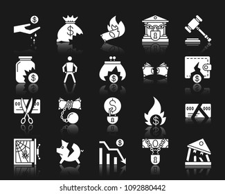 Bankruptcy silhouette icons set. Isolated web sign kit of business. Crisis pictogram collection includes graph, poor, fail. Simple bankruptcy symbol with reflection. White vector icon shape