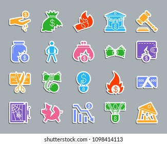 Bankruptcy silhouette sticker icons set. Web sign kit of business. Crisis pictogram collection includes debt, court, problem. Simple bankruptcy vector icon shape for patch, badge and embroidery