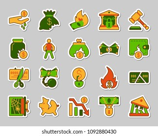Bankruptcy sticker icons set. Web flat sign kit of business. Crisis pictogram collection includes decline, debt, crash. Simple bankruptcy symbol. Colorful icon for patch. Vector Illustration