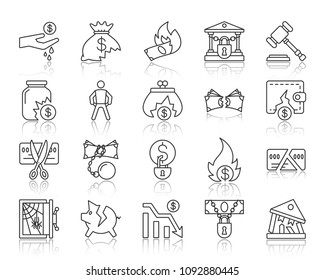 Bankruptcy thin line icons set. Outline web sign kit of business. Crisis linear icon collection includes recession, poverty, money. Simple bankruptcy symbol with reflection. Vector Illustration