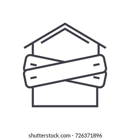 bankruptcy,boarded-up house vector line icon, sign, illustration on background, editable strokes