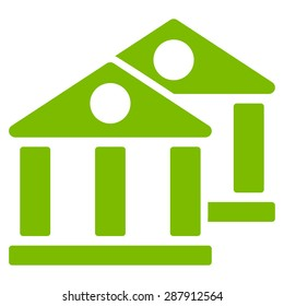 Banks icon from Business Bicolor Set. This flat vector symbol uses eco green color, rounded angles, and isolated on a white background.