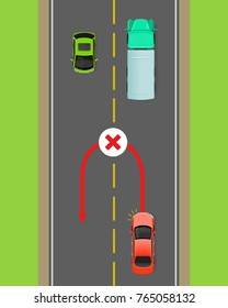 Banned car u-turn flat vector illustration. Road rule violation example on top view diagram. Traffic offences concept. Danger of car accident. Driving theory lesson. For driving courses test