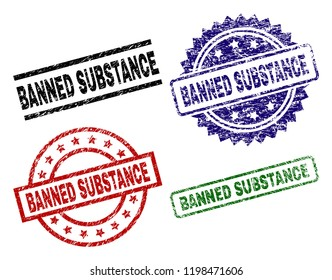 BANNED SUBSTANCE seal prints with corroded style. Black, green,red,blue vector rubber prints of BANNED SUBSTANCE text with dust style. Rubber seals with round, rectangle, medal shapes.