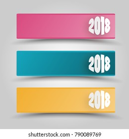 Banner 2018 - graphic for business design, infographics, reports or workflow layout in flat style
