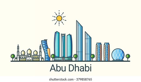Banner of Abu Dhabi city in flat line trendy style. All buildings separated and customizable. Line art.
