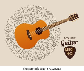 banner with acoustic guitar on beige background, vector illustration.