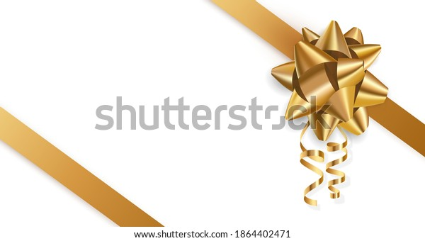 Banner with across diagonal gold metallic foil bow and ribbon with shadow. Holiday vector illustration for postcard, business card, decor, design, arts, party, sale, advertising.
