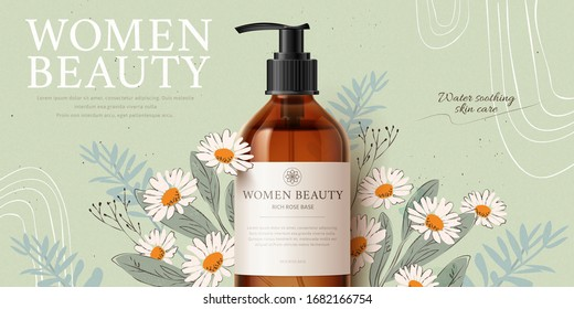 Banner ad for herbal cleansing product mock-up, with romantic hand-drawn chamomile and leaves on tea green background, 3d illustration