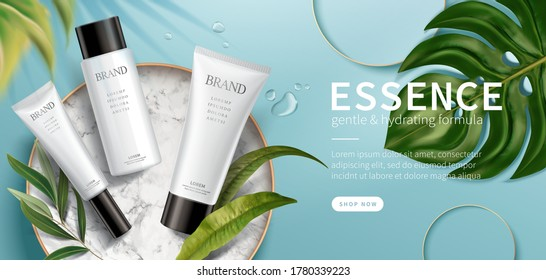 Banner ad for luxury beauty products, top view of cosmetic mock-ups set on marble disk with natural leaves, 3d illustration