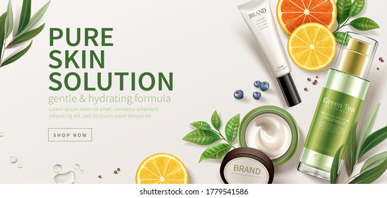 Banner ad for natural beauty products, top view of cosmetic mock-ups set on ivory background with natural ingredients, 3d illustration