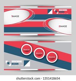 Banner for advertisement. Flyer design or web template set. Vector illustration commercial promotion background. Blue and red color.