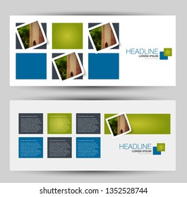 Banner for advertisement. Flyer design or web template set. Vector illustration commercial promotion background. Blue and green color.