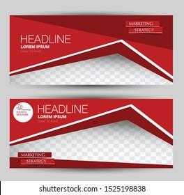 Banner for advertisement. Flyer design or web template set. Vector illustration commercial promotion background. Red color.