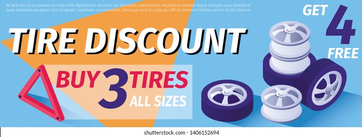Banner Advertises Tire Discount. Sale Offer. Buy 3 Wheels All sizes, Get 4 Free. Vector 3d Illustration with Isometric Spare Parts, Place for Text. Template for Online Workshop, Print Header Ad