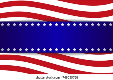 Banner advertising, blank blue, white and red color. Stars and stripes.