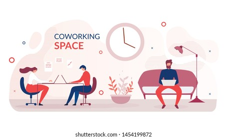 Banner Advertising Modern Coworking Space. Cartoon People Freelancers Characters Sit at Table or on Sofa Typing Laptop. Creative Open Space Office. Shared Working Environment. Vector Illustration