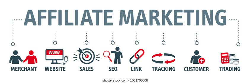 Banner affiliate marketing concept business partnership, referral program, vector illustration