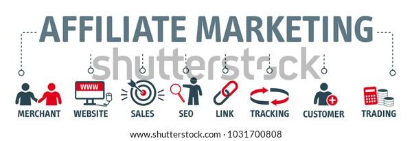 Banner Affiliate Marketing Concept Business Partnership Stock Vector