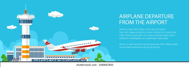 Banner of Airplane Takes Off from the Airport, Control Tower and Airplane on the Background of the City, Travel and Tourism Concept , Passenger Air Transportation, Vector Illustration