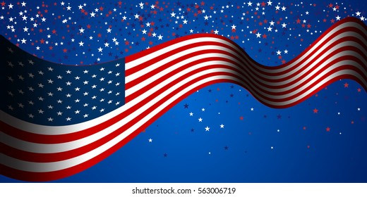 Banner with american flag and stars background. Stock vector.