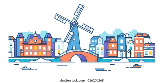 Banner of Amsterdam city in flat line trendy style. Amsterdam line art. European old town. Mill. City landscape. Flat design style.