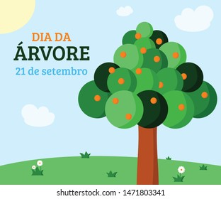 """Banner for Arbor Day celebration in Brazil, beautiful sunny day scenery with a fruit tree highlighted. Translation: """"Arbor Day. September 21"""""""