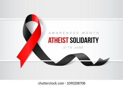 Banner with Atheist Solidarity Awareness Realistic Ribbon. Design Template for Websites Magazines