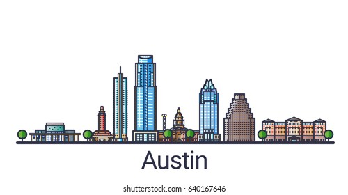 Banner of Austin city in flat line trendy style. Austin city line art. All buildings separated and customizable.