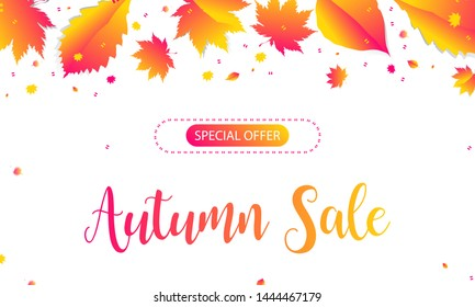 Banner Autumn Background Orange Sale Final. Leaves Vector template