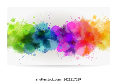 Banner background with colorful watercolor imitation splash blots line. Template for your designs. Multicolored.