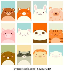 Banner, background, flyer, placard in hand drawn style with cute animals. Bear, fox, rabbit, dog, pig, cat, panda, tiger, beaver, raccoon, lion, polar bear. Vector template card in retro pastel colors