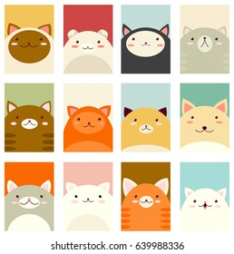 Banner, background, flyer, placard in hand drawn style with cute cats. Holiday poster for scrapbooking. Vector template card for greeting, decoration, congratulation, invitation in pastel colors. EPS8